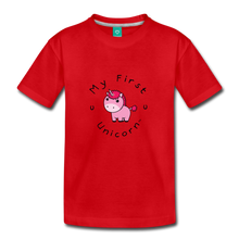 Load image into Gallery viewer, Toddler My First Unicorn T-Shirt (pink) - red