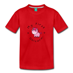 Toddler My First Unicorn T-Shirt (pink) - red