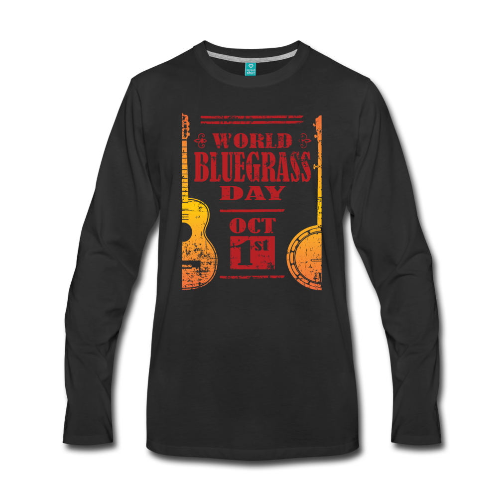 Men's Faded World Bluegrass Day Long Sleeve T-Shirt - black