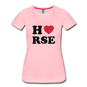 Women's Horse Large Letters T-Shirt - pink