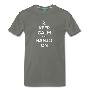 Men's Keep Calm and Banjo On T-Shirt - asphalt