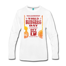 Load image into Gallery viewer, Men's Faded World Bluegrass Day Long Sleeve T-Shirt - white