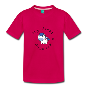 Toddler My First Pegasus T-Shirt (white/blue) - dark pink