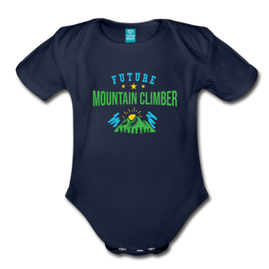 Future Mountain Climber Baby Bodysuit - dark navy
