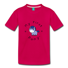 Load image into Gallery viewer, Kids' My First Pony T-Shirt (blue patch) - dark pink