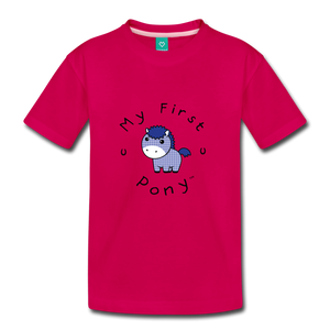 Kids' My First Pony T-Shirt (blue patch) - dark pink