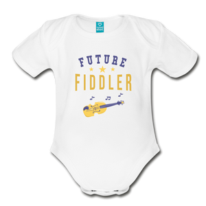 Future Fiddler Baby Bodysuit - white