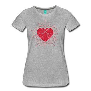 Women's Sunburst Heart Banjo T-Shirt - heather gray