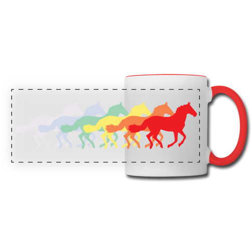 Rainbow Horses Mug - white/red