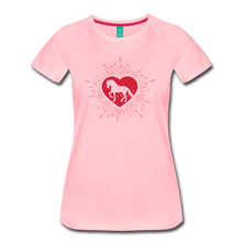 Load image into Gallery viewer, Women's Sunburst Heart Horse T-Shirt - pink