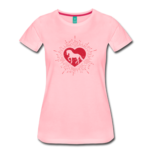Women's Sunburst Heart Horse T-Shirt - pink