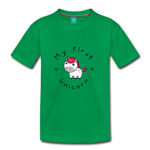 Load image into Gallery viewer, Kids' My First Unicorn T-Shirt (white) - kelly green