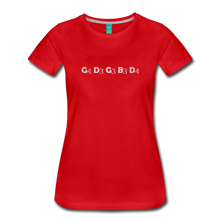 Load image into Gallery viewer, Women's Banjo Tuning T-Shirt - red