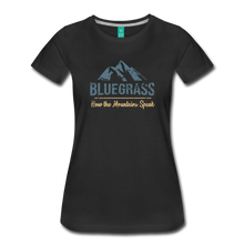Load image into Gallery viewer, Women's Bluegrass Mountains Speak T-Shirt - black