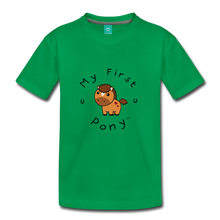 Load image into Gallery viewer, Kids' My First Pony T-Shirt (light brown) - kelly green