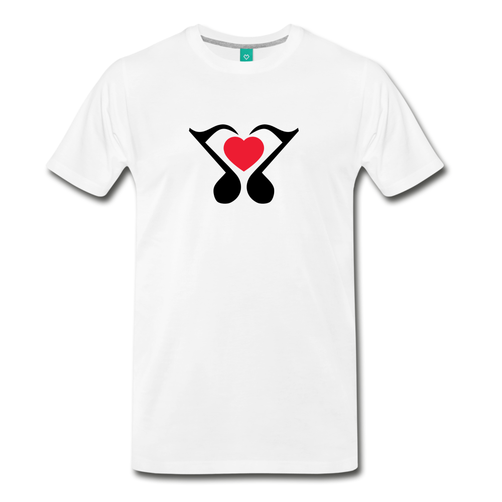 Men's Heart Music Note T-Shirt - white