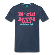 Load image into Gallery viewer, Men's 60s-Retro World Bluegrass Day T-Shirt - navy