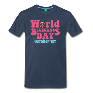 Men's 60s-Retro World Bluegrass Day T-Shirt - navy