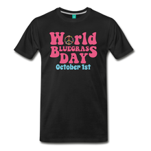 Load image into Gallery viewer, Men's 60s-Retro World Bluegrass Day T-Shirt - black
