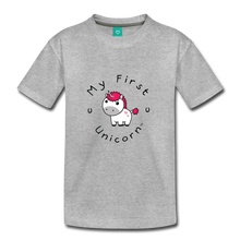 Load image into Gallery viewer, Kids' My First Unicorn T-Shirt (white) - heather gray
