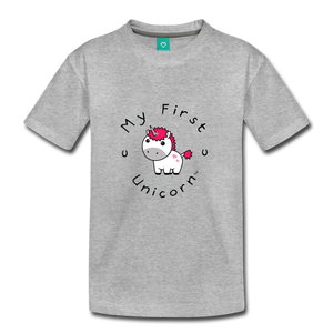 Kids' My First Unicorn T-Shirt (white) - heather gray