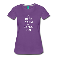 Load image into Gallery viewer, Women's Keep Calm Banjo On T-Shirt - purple