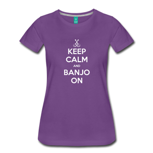 Women's Keep Calm Banjo On T-Shirt - purple