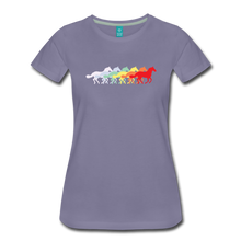 Load image into Gallery viewer, Women's Retro Rainbow Horse T-Shirt - washed violet
