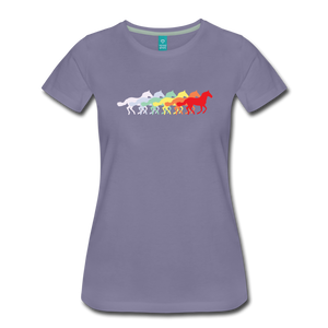 Women's Retro Rainbow Horse T-Shirt - washed violet