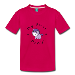 Kids' My First Pony T-Shirt (lilac patch) - dark pink