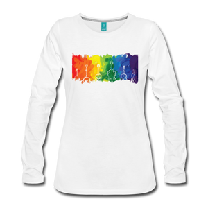 Women's Bluegrass Rainbow Long Sleeve Shirt - white