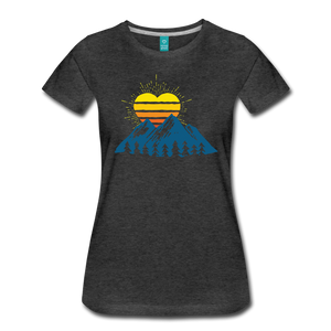 Women's Mountains Sun Heart T-Shirt - charcoal gray