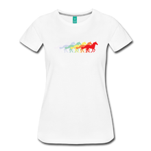 Load image into Gallery viewer, Women's Retro Rainbow Horse T-Shirt - white