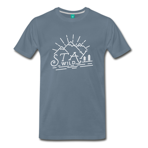 Men's Stay Wild T-Shirt (white) - steel blue
