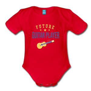 Future Guitar Player Baby Bodysuit - red