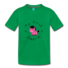 Load image into Gallery viewer, Kids' My First Zebra T-Shirt (pink) - kelly green