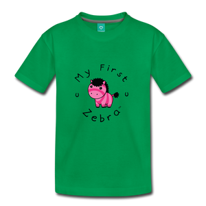 Kids' My First Zebra T-Shirt (pink) - kelly green