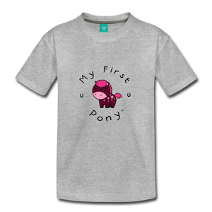 Toddler My First Pony T-Shirt (magenta) - heather gray