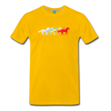 Load image into Gallery viewer, Men's Retro Rainbow Horse T-Shirt - sun yellow