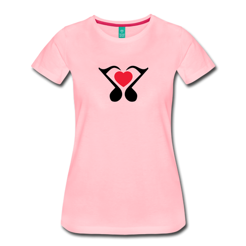 Women's Heart Music Note T-Shirt - pink