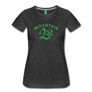 Women's Mountain Life (script) T-Shirt - charcoal gray