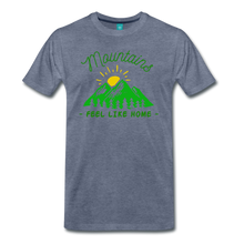 Load image into Gallery viewer, Men's Mountains Feel Like Home T-Shirt - heather blue