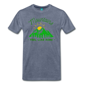 Men's Mountains Feel Like Home T-Shirt - heather blue