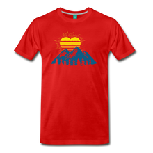 Load image into Gallery viewer, Men's Mountains Sun Heart T-Shirt - red
