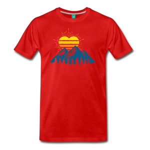 Men's Mountains Sun Heart T-Shirt - red