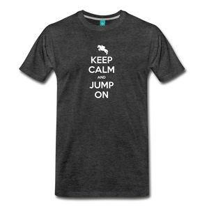 Men's Keep Calm and Jump On T-Shirt - charcoal gray