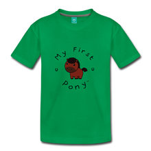 Load image into Gallery viewer, Kids' My First Pony T-Shirt (brown) - kelly green