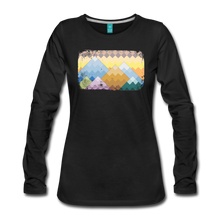 Load image into Gallery viewer, Women's Pixelated Mountains Long Sleeve Shirt - black