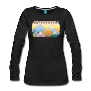 Women's Pixelated Mountains Long Sleeve Shirt - black
