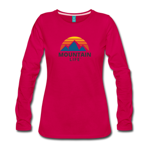 Women's Mountain Life Long Sleeve - dark pink